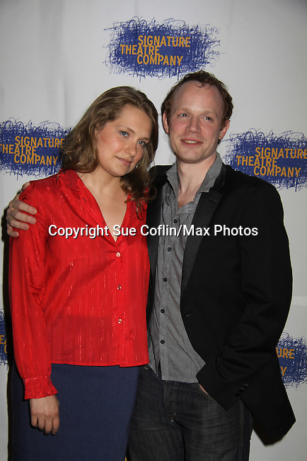 "Merritt Wever & Sean Dugan at the Opening Night party of Signature Theatre Company's ""The Illusion"" on June 5, 2001 at the West Bank Cafe with the play at the Peter Norton Space, New York City, New York.  (Photo by Sue Coflin/Max Photos)"