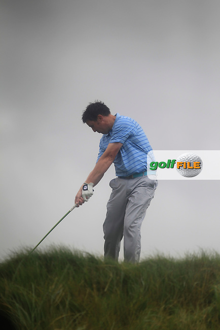 Paul O'Hara (Kilkenny) on the 6th tee during the South of Ireland Amateur Open Championship Final at Lahinch Golf Club  31th July 2013 <br /> Picture:  Thos Caffrey / www.golffile.ie