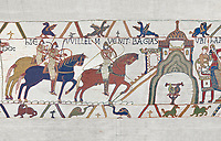 Bayeux Tapestry scene 22:  Duke William and Harold ride to Bayeux after defeating Duke of Britany. BYX22
