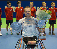 Rotterdam, Netherlands, December 20, 2015,  Topsport Centrum, Lotto NK Tennis, Final mens wheelchair, winner  Maikel Scheffers (NED)<br /> Photo: Tennisimages/Henk Koster