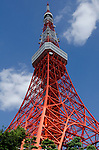 Tokyo Tower rises above trees into a blue sky with clouds