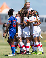Bradenton, FL - Sunday, June 12, 2018: Canada, goal celebrateion, Julianne Vallerand prior to a U-17 Women's Championship 3rd place match between Canada and Haiti at IMG Academy. Canada defeated Haiti 2-1.