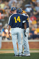 West Virginia Mountaineers head coach Randy Mazey (14) has a chat with Brandon White (46) during the game against the Wake Forest Demon Deacons in Game Four of the Winston-Salem Regional in the 2017 College World Series at David F. Couch Ballpark on June 3, 2017 in Winston-Salem, North Carolina. The Demon Deacons walked-off the Mountaineers 4-3. (Brian Westerholt/Four Seam Images)