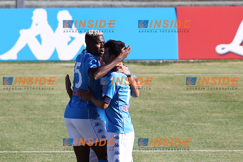 Hirving Lozano of SSC Napoli celebrates with Victor Osimhen <br /> during the friendly football match between SSC Napoli and SS Teramo Calcio 1913 at stadio Patini in Castel di Sangro, Italy, September 04, 2020. <br /> Photo Cesare Purini / Insidefoto