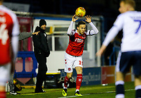 Fleetwood Town's Gethin Jones takes a throw in<br /> <br /> Photographer Alex Dodd/CameraSport<br /> <br /> The EFL Checkatrade Trophy Group B - Bury v Fleetwood Town - Tuesday 13th November 2018 - Gigg Lane - Bury<br />  <br /> World Copyright &copy; 2018 CameraSport. All rights reserved. 43 Linden Ave. Countesthorpe. Leicester. England. LE8 5PG - Tel: +44 (0) 116 277 4147 - admin@camerasport.com - www.camerasport.com