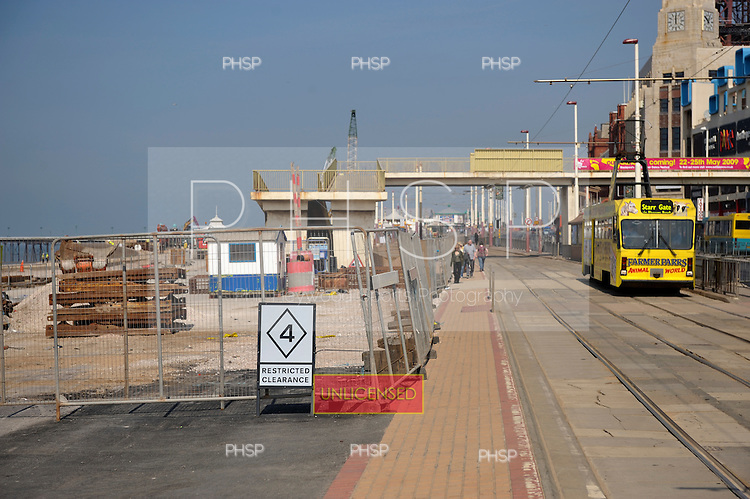 Blackpool promenade partially closed due to ongoing regeneration/sea defence work underway