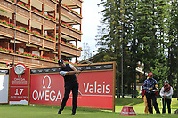 Darren Fichardt (RSA) tees off the 17th tee during Sunday's Final Round of the 2017 Omega European Masters held at Golf Club Crans-Sur-Sierre, Crans Montana, Switzerland. 10th September 2017.<br /> Picture: Eoin Clarke | Golffile<br /> <br /> <br /> All photos usage must carry mandatory copyright credit (&copy; Golffile | Eoin Clarke)