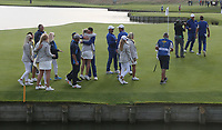 Scene at the 18th during Sunday's Singles, at the Ryder Cup, Le Golf National, Île-de-France, France. 30/09/2018.<br /> Picture David Lloyd / Golffile.ie<br /> <br /> All photo usage must carry mandatory copyright credit (© Golffile | David Lloyd)