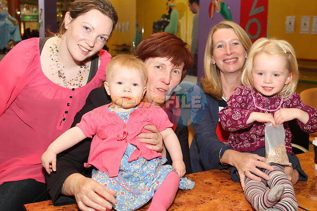 Ruth and Ruby O'Reilly, Theresa Dillon with Jackie and Naoise Branigan at the Breakfast Morning with Mumstown.ie in Conjunction with ISPCC, Childline and Cheerios...Picture Jenny Matthews/Newsfile.ie