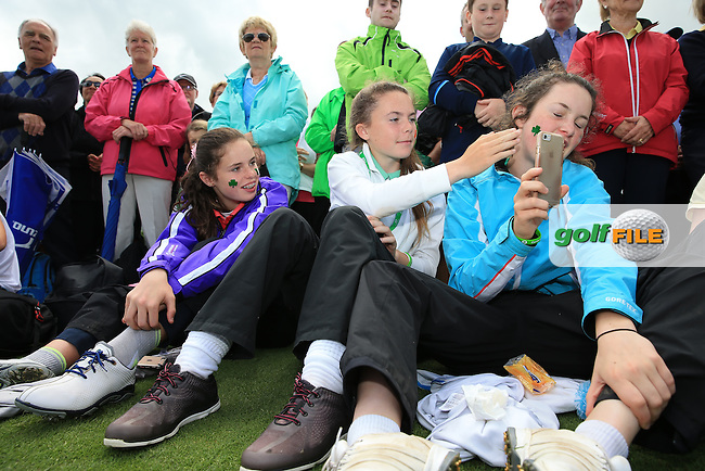 Young Irish golfers during the Closing Ceremony at the 2016 Curtis Cup, played at Dun Laoghaire GC, Enniskerry, Co Wicklow, Ireland. 12/06/2016. Picture: David Lloyd | Golffile. <br /> <br /> All photo usage must display a mandatory copyright credit to &copy; Golffile | David Lloyd.