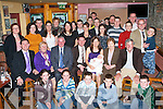 BABY JOY: Proud parents Mike and Maira Brosnan (seated 4th & 5th left), Rossanean, Currow celebrating the Christening of their son little Ben Francie with family and friends at the Half Barrell bar Castleisland on Sunday.   Copyright Kerry's Eye 2008