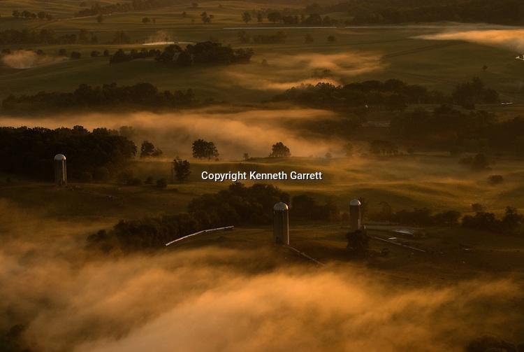 scenic aerials view of farmland near Delaplane, Virginia, Fauquier