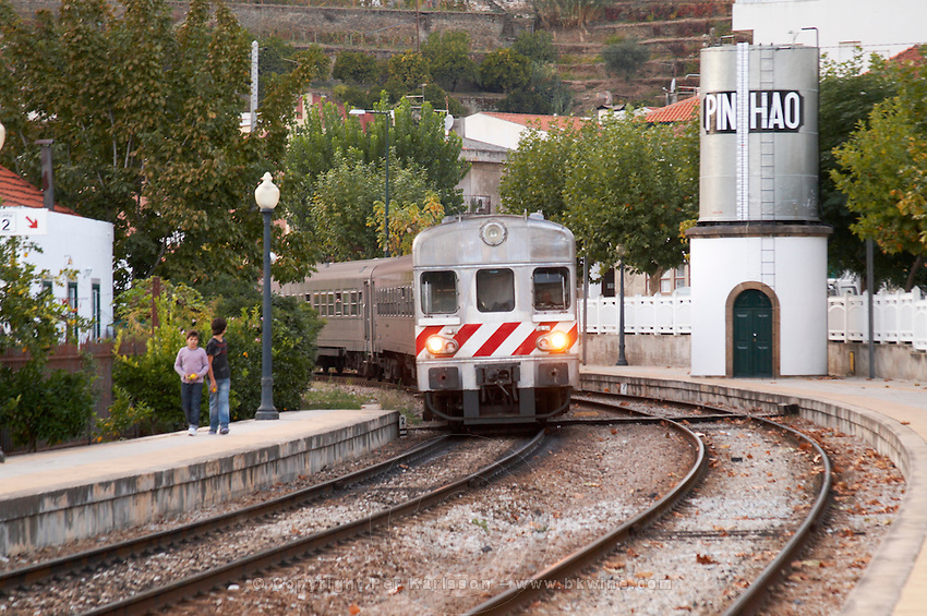 train arriving at the station pinhao douro portugal