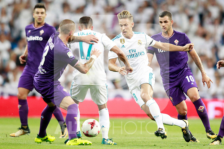 Real Madrid's Lucas Vazquez (c-l) and Marcos Llorente (c-r) and ACF Fiorentina's Cristiano Biraghi (l) and Valentin Eysseric during Santiago Bernabeu Trophy. August 23,2017. (ALTERPHOTOS/Acero)