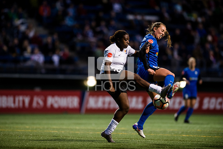 Seattle, WA - April 15th, 2017: Lindsay Elston and Mandy Freeman during a regular season National Women's Soccer League (NWSL) match between the Seattle Reign FC and Sky Blue FC at Memorial Stadium.