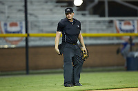 Home plate umpire West Hyer works the Appalachian League game between the Danville Braves and the Burlington Royals at Burlington Athletic Stadium on August 9, 2019 in Burlington, North Carolina. The Royals defeated the Braves 6-0. (Brian Westerholt/Four Seam Images)
