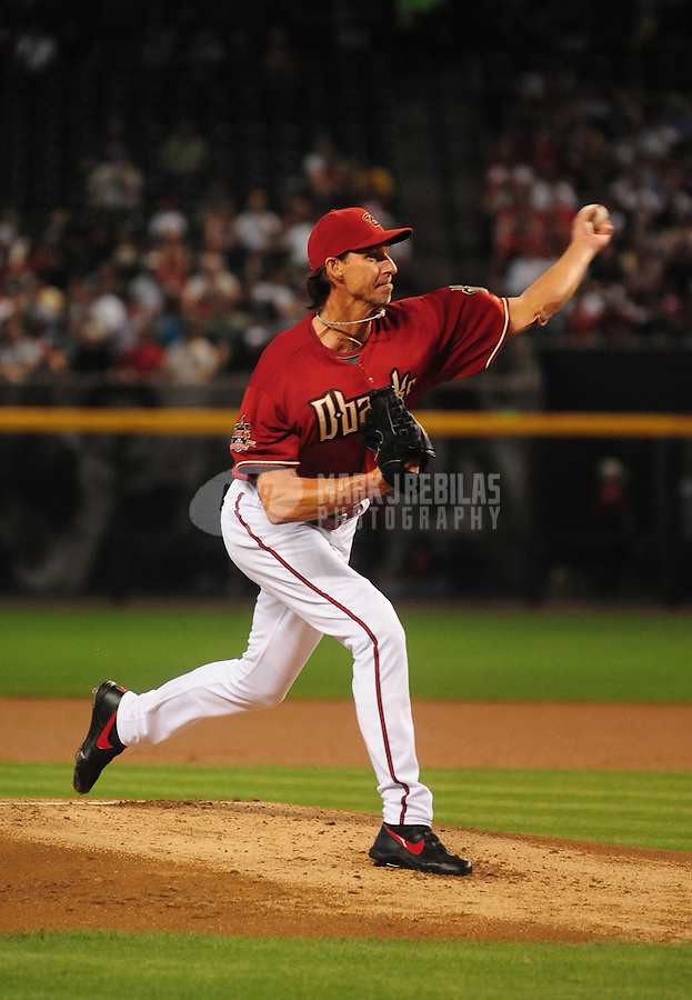Apr. 20, 2008; Phoenix, AZ, USA; Arizona Diamondbacks pitcher Randy Johnson pitches against the San Diego Padres at Chase Field. Mandatory Credit: Mark J. Rebilas-
