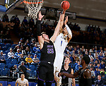 BROOKINGS, SD - NOVEMBER 6: Skyler Flatten #1 from South Dakota State University is fouled while taking the ball to the basket against Alessandro Lever #25 from Grand Canyon University during their game Tuesday night at Frost Arena in Brookings, SD. (Photo by Dave Eggen/Inertia)