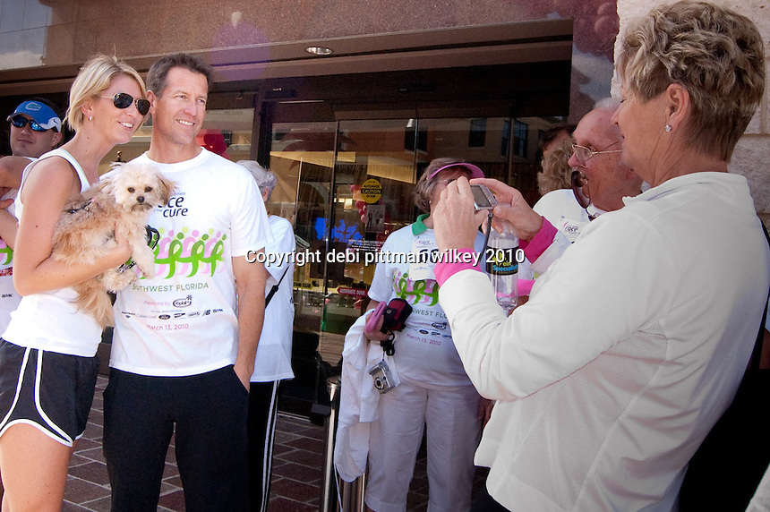 """James Denton, one of the leading stars of """"Desperate Housewives"""" was honorary chair of the fourth annual Susan G. Komen Southwest Florida Race for the Cure fundraiser at Coconut Point in Estero. """"I lost my mother to breast cancer six years ago,"""" said Denton """"These people are my family now."""" Photo by Debi Pittman Wilkey"""