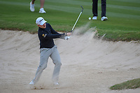 Austin Cook (USA) hits from the trap on 14 during Round 2 of the Valero Texas Open, AT&amp;T Oaks Course, TPC San Antonio, San Antonio, Texas, USA. 4/20/2018.<br /> Picture: Golffile | Ken Murray<br /> <br /> <br /> All photo usage must carry mandatory copyright credit (&copy; Golffile | Ken Murray)