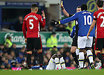 Marcos Rojo of Manchester United is booked by referee Mike Oliver during the Premier League match at Goodison Park, Liverpool. Picture date: December 4th, 2016.Photo credit should read: Lynne Cameron/Sportimage