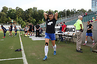 Cary, North Carolina  - Saturday June 17, 2017: Brooke Elby prior to a regular season National Women's Soccer League (NWSL) match between the North Carolina Courage and the Boston Breakers at Sahlen's Stadium at WakeMed Soccer Park. The Courage won the game 3-1.