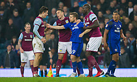 Jamie Ward of Cardiff City has a disagreement with Jack Grealish of Aston Villa during the Sky Bet Championship match between Aston Villa and Cardiff City at Villa Park, Birmingham, England on 10 April 2018. Photo by Mark  Hawkins / PRiME Media Images.