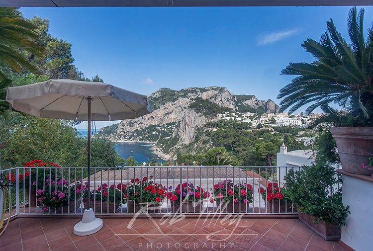 Europe, Italy, Isle of Capri, Capri Town, Hotel Bacony with view of Anacapri