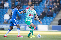 Theo Robinson of Colchester United gets to grips with Niall Canavan of Plymouth Argyle during Colchester United vs Plymouth Argyle, Sky Bet EFL League 2 Football at the JobServe Community Stadium on 8th February 2020