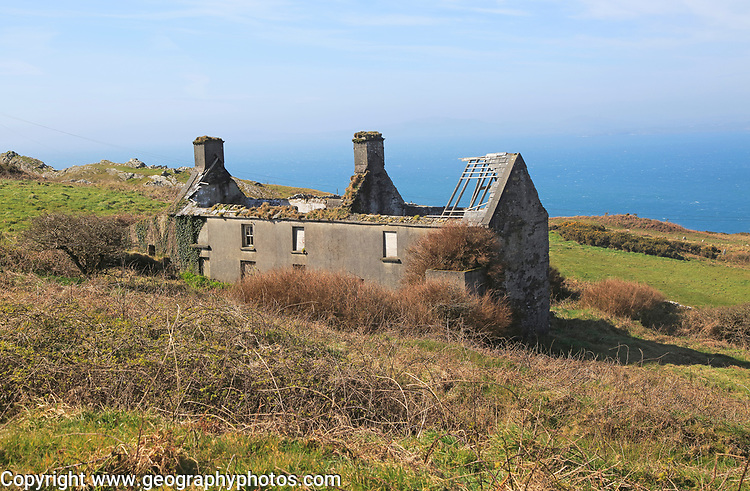 Abandoned ruined farmhouse building on west coast of Cape Clear Island, County Cork, Ireland, Irish Republic