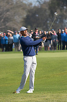 25th January 2020, Torrey Pines, La Jolla, San Diego, CA USA;  Tiger Woods hits a fairway iron during round 3 of the Farmers Insurance Open at Torrey Pines Golf Club on January 25, 2020
