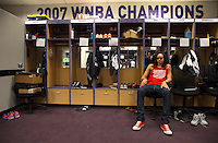Jun. 10, 2013; Phoenix, AZ, USA: Phoenix Mercury center Brittney Griner in the teams locker room at the US Airways Center. Mandatory Credit: Mark J. Rebilas-
