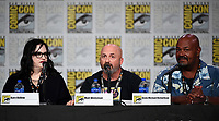 SAN DIEGO COMIC-CON© 2019:  L-R: 20th Century Fox Television's AMERICAN DAD Executive Producer Kara Vallow, Producer Matt Weitzman and Cast Member Kevin Michael Richardson during the AMERICAN DAD panel on Saturday, July 20 at the SAN DIEGO COMIC-CON© 2019. CR: Frank Micelotta/20th Century Fox Television