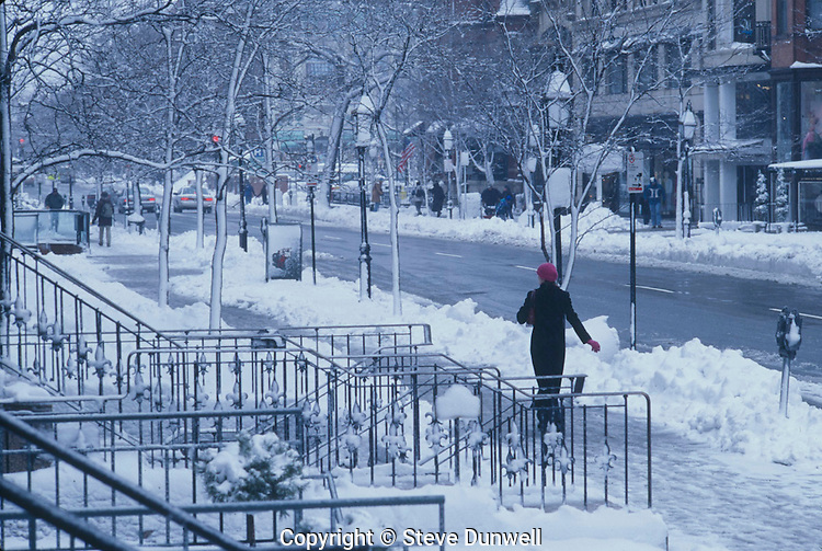 Newbury St.,Winter, snow, Boston, MA