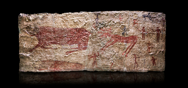 Hunting scene. A deer and wild boar are depicted being hunted with people using bows and arrows. One person is depcted trying to net the boar. 6000 BC,  Catalhoyuk Collections. Museum of Anatolian Civilisations, Ankara. Against a black background