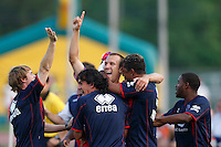 Crystal Palace midfielder Dan Lader (15) (center) celebrates scoring with teammates during a Lamar Hunt US Open Cup quarterfinal match between the New England Revolution (MLS) and Crystal Palace (USL2) at Veterans Stadium in New Britain, CT, on July 8, 2008.