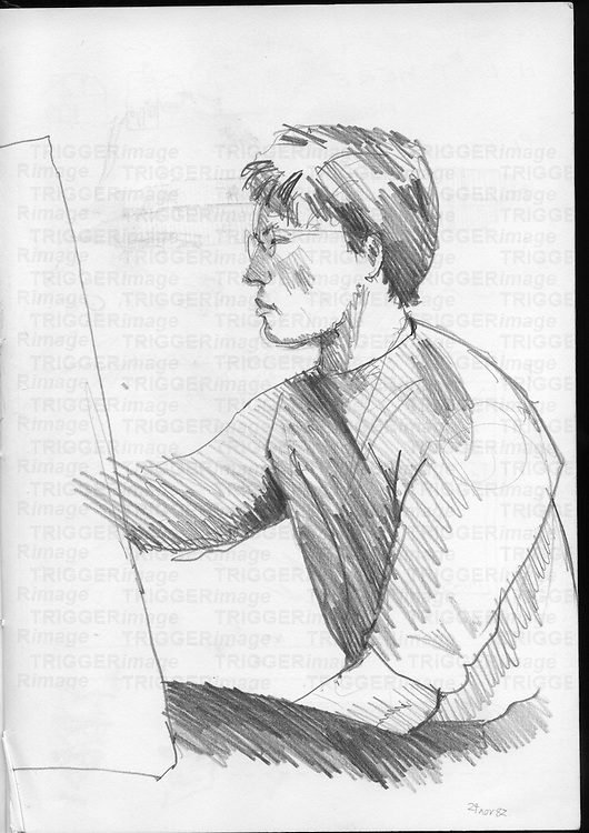 Sketchbook drawing of young man