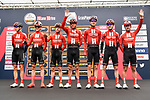 Team Sunweb at sign on before the start of the world's oldest classic the 100th edition of Milano-Torino running 179km from Magenta to the Basilica at Superga in Turin, Italy. 9th Octobre 2019. <br /> Picture: LaPresse | Cyclefile<br /> <br /> All photos usage must carry mandatory copyright credit (© Cyclefile | LaPresse)