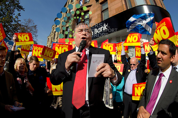 John Prescott with Anas Sarwar on referendum campaign. The Labour veteran was joined by Alistair Darling and Anas Sarwar all making stump speeches and campaign call's with local Labour activists.<br /> Picture: Universal News And Sport (Scotland) 10 September 2014.