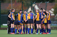 pre match team talk during Upminster HC Ladies vs Holcombe HC Ladies 1A, East Region League Field Hockey at the Coopers Company and Coborn School on 11th November 2017
