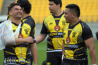 Lions hookers Leni Apisai and Asofa Aumua chat after the Mitre 10 Cup rugby match between Wellington Lions and Otago at Westpac Stadium in Wellington, New Zealand on Sunday, 1 October 2017. Photo: Dave Lintott / lintottphoto.co.nz