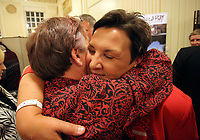 Pictured: Labour candidate for Gower constituency Tonia Antoniazzi (R) is congratulated on her win after it was announced.  Friday 09 June 2017<br />Re: Counting of ballots at Brangwyn Hall for the general election in Swansea, Wales, UK