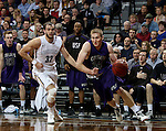 SIOUX FALLS, SD - FEBRUARY 27:  Clint Thomas #34 from the University of Sioux Falls gets a step past Casey Schilling #32 from Augustana during their NSIC Tournament game Saturday night at the Pentagon in Sioux Falls. (Photo by Dave Eggen/Inertia)