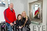 Rachel O'Connor donating her hair to repunzal charity here with mom and dad   Jacinta O'Connor and kevin O'Conor at  Vogue Hair Salon on Saturday