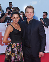 "TORONTO, ONTARIO - SEPTEMBER 09: Matt Damon and Luciana Barroso attend the ""Ford v Ferrari"" premiere during the 2019 Toronto International Film Festival at Roy Thomson Hall on September 09, 2019 in Toronto, Canada. <br /> CAP/MPI/IS<br /> ©IS/MPI/Capital Pictures"