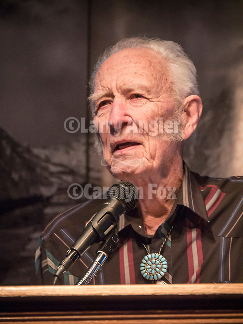 Gordon Allen Sr. thanks the crowd for 90th birthday wishes at Shooting the West XXVII, Winnemucca, Nev.