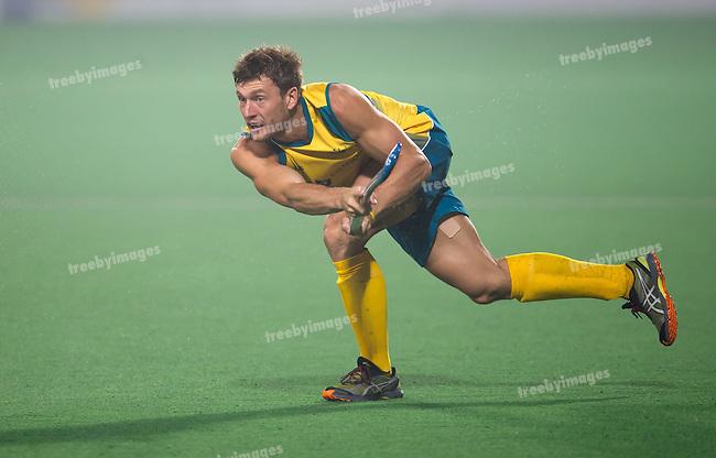 Mens Hockey World league Final Delhi 2014<br /> Day 4, 15-01-2014<br /> Australia v India<br /> Nicholas Budgeon<br /> Photo: Grant Treeby / treebyimages