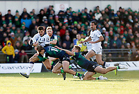 17th November 2019; The Sportsground, Galway, Connacht, Ireland; European Rugby Champions Cup, Connacht versus Montpellier; Anthony Bouthier (Montpellier) holds off challenges from John Porch and Kyle Godwin (Connacht) to score a 63rd minute try - Editorial Use