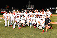 Team photo after the Under Armour All-American Game on August 16, 2014 at Wrigley Field in Chicago, Illinois. Includes Sean Casey, Jim Gemler, Kody Clemens, Ryan Mountcastle, Kyle Dean, Corey Zangari, Josh Naylor, Nick Plummer, Austin Riley, Kyle Molnar, Nicholas Shumpert, Anthony Molina, Starling Heredia, Wyatt Cross, Ryan Johnson, Cole Mckay, Franklin Reyes, Cal Raleigh, Sati Santa Cruz, Justin Hooper, Beau Burrows.  (Mike Janes/Four Seam Images)