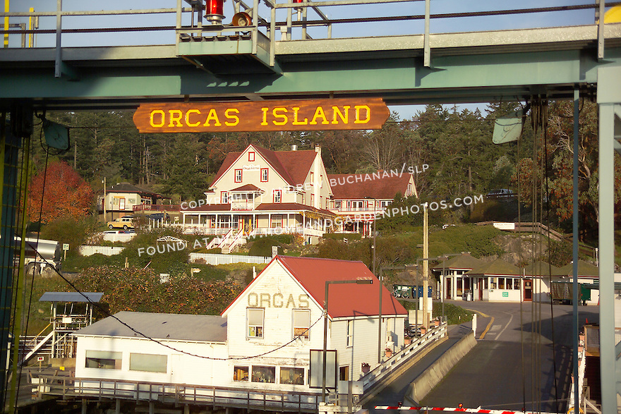The historic Orcas Hotel, seen here in the early morning November sunshine, sits just across the road and up the hill from the Orcas Island ferry terminal.  It was originally built in 1904 and has been on the National Register of Historic Places since 1982.